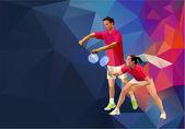 Badminton players mixed doubles team, man and woman start badminton game, vector badminton serve — Stock Vector