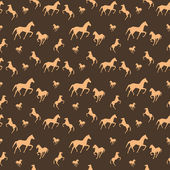 Brown horses seamless pattern — Stock Vector