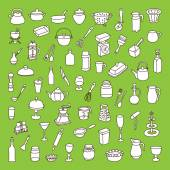 Set of 60 icons of different types of cookware — Stock Vector
