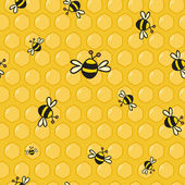 Cute vector colorful bees on the honeycomb — Vettoriale Stock