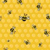 Cute vector colorful bees on the honeycomb — Vector de stock