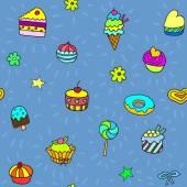 бесшовный паттерн с конфеты и сладости — Cтоковый вектор