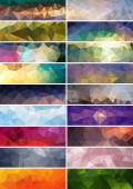 Collection of vector abstract polygonal banners — Stock Vector
