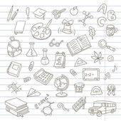 Back to school on a exercise book sheet grid — Stock Vector