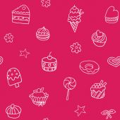 Seamless pattern with ice-cream, pie and cupcakes — Stock Vector