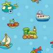 Seamless pattern with colorful childrens toys — Vector de stock  #59885417