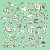 Insieme di elementi di giocattoli del bambino — Vettoriale Stock