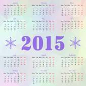 Happy New year 2015 celebration European calendar with snowflakes — Vector de stock