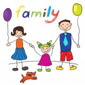 Child's drawing happy family with dog. Father, mother, daughter. — Stock Vector