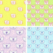 Four cute seamless pattern with cat faces — Stock Vector