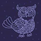 Owl in the night sky vector illustration — Vector de stock