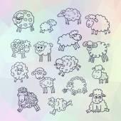 Vector set of sixteen cute sheep — Stock Vector