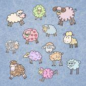 Vector set of cute sheepblue — Stock Vector