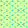 Seamless pattern. Fond green and blue colors. Endless texture can be used for printing onto fabric and paper or invitation. Simple flower shape. — Stock Vector #59998391