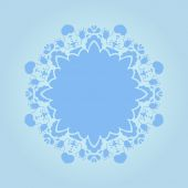 Beautiful blue ornamental background. Fond fine greeting card, round postcard with floral ornaments, excellent element for menu and invitation. — Stock Vector
