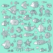 The collection of marine fish and mammals — Stock Vector