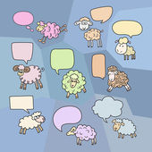 Sheep set with speech bubbles. Symbol 2015 Year, year of Sheep. Vector Illustration — Stock Vector