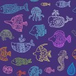 Seamless pattern with sea creatures — Stock Vector #60001935