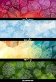 Four seasons horizontal banners — Stock Vector