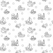 Seamless pattern with childrens toys — Vector de stock  #60365887