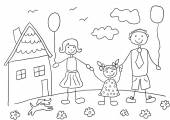 Child's drawing happy family with dog. Father, mother, daughter and their house. — Stock Vector