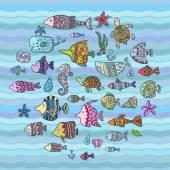Vector sea animals — Stock Vector
