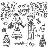 Fondo de boda blanco y negro — Vector de stock