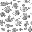 Seamless pattern with sea creatures — Stock Vector #60451975