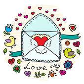 Valentine's Day Vector Envelope — Stock Vector