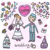 Casal de noivos mão desenhada — Vetor de Stock