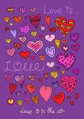 Vector hearts set. Hand drawn. — Stock Vector