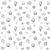 Holiday seamless pattern with ice-cream, pie and cupcakes — ストックベクタ