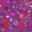Love hearts seamless pattern. Doodle heart. Romantic background. Vector illustration — Vettoriale Stock  #60853473