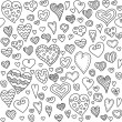 Love hearts seamless pattern. Doodle heart. Romantic background. Vector illustration — Stock Vector #60854289