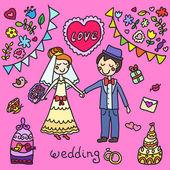 Elle çizilmiş düğün çifti — Stok Vektör