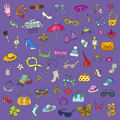 The vector set of female accessories — Vettoriale Stock
