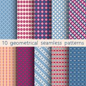 10 geometrical seamless patterns, Pattern Swatches, vector. Texture can be used for wallpaper, pattern fills, web page,background. — Stok Vektör