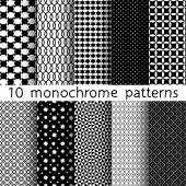 10 Monochrome different vector seamless patterns. Set of black and white geometric ornaments. Endless texture can be used for wallpaper, pattern fills, web page background, surface textures. — Stock vektor