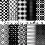 10 Monochrome different vector seamless patterns. Set of black and white geometric ornaments. Endless texture can be used for wallpaper, pattern fills, web page background, surface textures. — Stockvektor