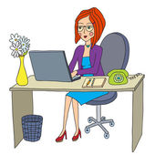 Business woman works behind the computer — Stockvector