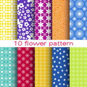 10 Romantic different flower vector seamless patterns. Endless texture can be used for printing onto fabric and paper or scrap booking. Floral shapes. — Stock Vector