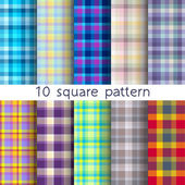 10 vector square seamless patterns. Endless texture can be used for wallpaper, fill, web background, texture. — Stock Vector