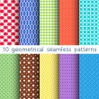 10 different vector seamless patterns. Set of variegated geometric ornaments. Endless texture can be used for wallpaper, pattern fills, web page background, surface textures. — Stock Vector #61463733
