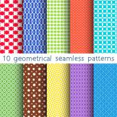 10 different vector seamless patterns. Set of variegated geometric ornaments. Endless texture can be used for wallpaper, pattern fills, web page background, surface textures. — Wektor stockowy
