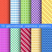 10 geometrical seamless patterns, Pattern Swatches, vector. Texture can be used for wallpaper, pattern fills, web page, background. — Stock Vector