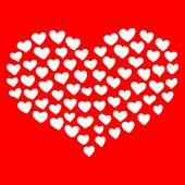 Big heart shape comprised by smaller ones isolated on red background. — Vecteur