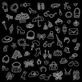 The vector set of female accessories — Stock Vector