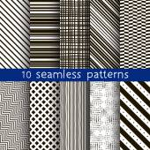 10 striped vector seamless patterns. Textures for wallpaper, fills, web page background. Set of geometric ornaments. — Stock Vector