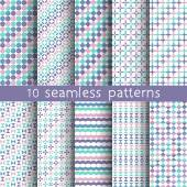 10 vector seamless patterns. Textures for wallpaper, fills, web page background. Set of geometric ornaments. — Stock Vector