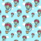 Hot air balloons in the sky. Seamless travel pattern. — Stock Vector